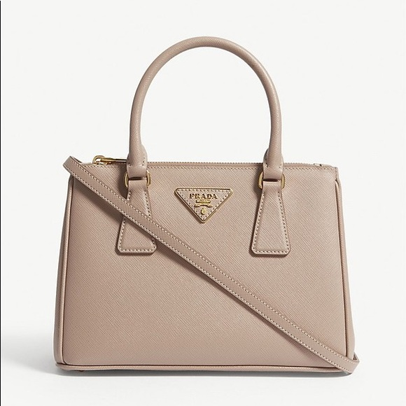 be61c77d6676 Saffiano Lux Small Double-Zip Tote Bag, Cammeo. M_5bdb75e7bb7615c31fe6b43b.  Other Bags you may like. Prada ...